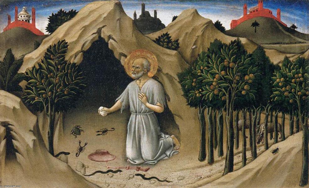 Exílio de São Jerônimo Cenas da Vida de São Jerônimo Sano di Petro 1444